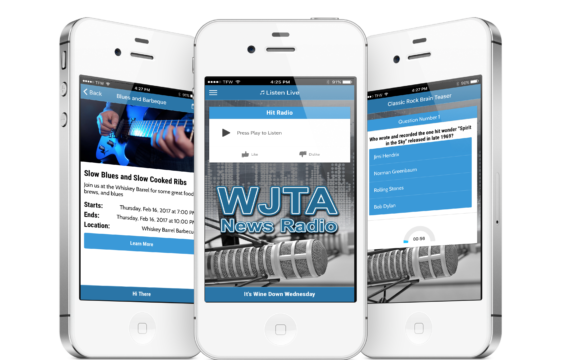 Cell Phone with JOTA Radio App features: listen live, trivia